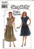 """Simplicity 8486 Basque Waist 1980s Shirtwaist Dress Sewing Pattern 10-14 B32-36"""" Uncut"""