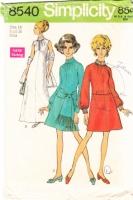 Simplicity 8540 60s High Jeweled Collar Dress, Sash, Stole Sewing Pattern 14 B36