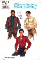 Simplicity 8541 Men's Button Front, Patch Pocket, Long or Short Sleeve Shirt Sewing Pattern 42 Used