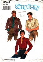 Simplicity 8541 Men's Button Front, Patch Pocket, Long or Short Sleeve Shirt Sewing Pattern 44 Used