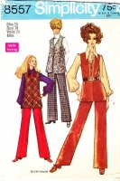 Simplicity 8557 Groovy 1960s Belted Long Vest & Pants Sewing Pattern 16 B38 Used