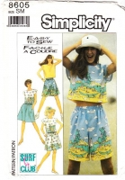 Simplicity 8605 Surf Club Crop Top, Baggy Pull-on Shorts & Skirt Sewing Pattern Small B32-34 Used