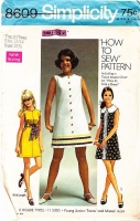 "Simplicity 8609 A-Line Rick Rack Trimmed Dress Sewing Pattern Junior 13/14 B33"" Used"