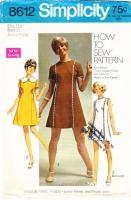 Simplicity 8612 60s Princess Seam, Rick Rack Trimmed Dress Sewing Pattern 11 Junior Petite B34 Uncut