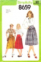 "Simplicity 8659 Yoked Pleated or Gathered Skirt Sewing Pattern 14 Waist 28"" Uncut"