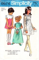 Simplicity 8674 Girls Lace Party, 1960s Flower Girl Dress Sewing Pattern 8 Used