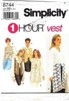 Simplicity 8744 Lined Short or Long Lacy Vest Sewing Pattern L-XL 18-24 B40-46 Uncut