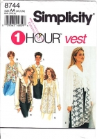 Simplicity 8744 Lined Short or Long Lacy Vest Sewing Pattern XS-M 6-16 B30-38 Uncut