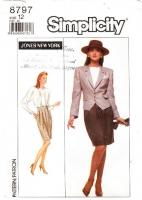 "Simplicity 8797 Broad Shouldered Pointed Hem Jacket, Pencil Skirt & Long Sleeve Blouse Sewing Pattern 12 B34"" Uncut"