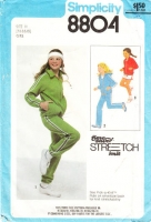 Simplicity 8804 Girls 1970s Track Suit, Jacket & Pants,  Athletic Shorts Sewing Pattern 7-10 Uncut