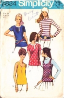 "Simplicity 8834 Tank, Collarless or Turtleneck Top Sewing Pattern 12 B34"" Used"