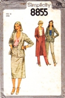 "Simplicity 8855 Long Duster or Hip Length Blazer Jacket, Gathered Below Knee Skirt & Tapered Pants Sewing Pattern 12 B34"" Uncut"