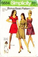 Simplicity 8884 Princess Seam Scoop Neck Sleeveless 1970s Dress Sewing Pattern 8 B31 Used