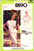 Simplicity 8890 Shirred Yoke Knit Tank Top & Kimono Sleeve Bateau Neck Shirt Sewing Pattern 10-12 B32-34 Used