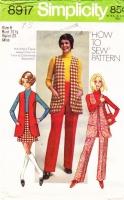 "Simplicity 8917  Long Vest, 1970s Mini-Skirt & Pants Sewing Pattern 8 B31"" Uncut"