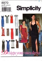 Simplicity 8970 Strapless, One Shoulder or Halter Prom Dress Sewing Pattern 10-14 B32-36 Used