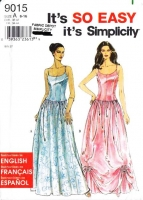Simplicity 9015 Spaghetti Strap Bustier Top & Full Skirt, Prom, Wedding, Southern Belle Dress Sewing Pattern 6-16 B30-38 Uncut