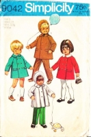 Simplicity 9042 Classic Toddler Coat, Hood & Pull-on Pants Sewing Pattern 3 Uncut