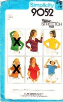 Simplicity 9052 Girls' V-Neck Stretch Knit Pullover Tops Sewing Pattern 7-8 B26-27 Used