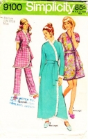 "Simplicity 9100 Misses Cute Pajama Party Ruffle Edged Robe & Pull-on Pants Sewing Pattern Medium B34-36"" Used"