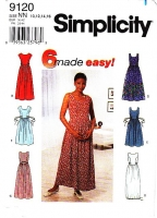 "Simplicity 9120 Gathered Waist Tank Dress Sewing Pattern 10-16 B32-38"" Uncut"