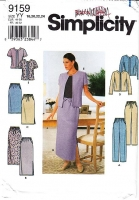 "Simplicity 9159 Short Sleeve Top, Collarless Jacket, Knee or Calf Length Skirt & Pull-on Pants Sewing Pattern Plus Size 18-24 B40-46"" Uncut"