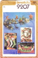 Simplicity 9207 Fabric Christmas Ornaments, Braided Cloth Holiday Wreath, Sew Your Own Tree Skirt, Create Custom Stockings Sewing Pattern Uncut