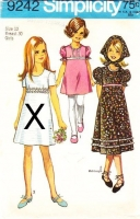 "Simplicity 9242 Girls A-Line Puff Sleeve Dress Sewing Pattern 12 B30"" Used"