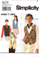 """Simplicity 9279 Misses Western, Asian Inspired, Lined Vest Sewing Pattern 6-12 B30-34"""" Uncut"""