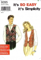 "Simplicity 9285 Make Custom Wedding Apparel Unisex Mens Womens Teens Vest Sewing Pattern XS-XL C30-44"" Uncut"