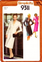 Simplicity 9311 Sexy Fitted Jacket, Knee Length Skirt Sewing Pattern 16 B38 Uncut