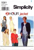 "Simplicity 9361 Fast 3-Hour Thigh Length Jacket or Vest Sewing Pattern 6-10 B30-32"" Uncut"