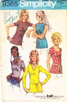 "Simplicity 9365 V-Neck Stretch Knit Tunic Top Sewing Pattern 12 B34"" Used"