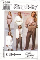 Simplicity 9368 Wrap Front Blouse, Straight Leg Pants, Above Knee Skirt & Collarless Jacket Sewing Pattern 12-16 B34-38 Uncut