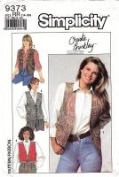 "Simplicity 9373  Lined Hip-Length Vest Sewing Pattern 14-20 B36-42"" Uncut"