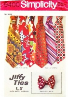 Simplicity 9400 Mens' Easy To Sew Ties Neckties & Bowties Sewing Pattern Uncut