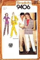 Simplicity 9406 80s Straight-Leg Pants & Blazer Jacket Sewing Pattern 14 B36 Uncut