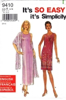 "Simplicity 9410 Sleeveless, Scoop Neck, Knee or Ankle Length Dress Sewing Pattern 6-16 B30-38"" Uncut"