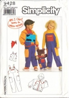 Simplicity 9428 Children's Bib Overalls & Hoodie Sewing Pattern 3-6 Uncut
