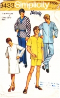 "Simplicity 9433 Men's Pajamas, PJs, Nightshirt, Sleepshirt Sewing Pattern Medium C38-40"" Used"