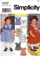 Simplicity 9492 Design Your Own Toddler Flower Girl, Fancy Party Dress Sewing Pattern 1-4 Uncut