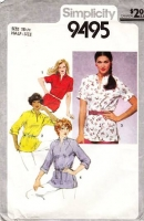 """Simplicity 9495 Pullover Tunic Shirt Sewing Pattern Half Size 18½ B41"""" Used"""