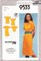 Simplicity 9533 Pullover, Cold Shoulder Shift Dress or Top Sewing Pattern Medium B36-38 Used