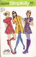 "Simplicity 9544 Cute Kicky Baby Doll, Mini Dress & Short Shorts Sewing Pattern 10 B32"" Used"