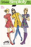 "Simplicity 9544 Cute Kicky Baby Doll, Mini Dress & Short Shorts Sewing Pattern 12 B34"" Used"