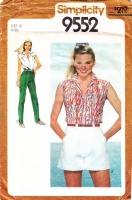 "Simplicity 9552  Button Front Short Sleeve Shirt, Wide-Leg Shorts & Straight-Leg Pants Sewing Pattern 12 B34"" Uncut"