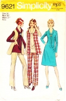"""Simplicity 9621 V-Neck, Tie Collar Dress, Tunic & Vest Sewing Pattern 14 B36"""" Used"""