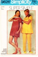 "Simplicity 9626 Pajamas, PJs, Nightgown, Sleepwear Sewing Pattern Petite 6 B30"" Used"