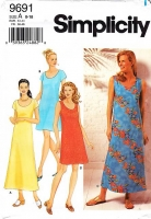 Simplicity 9691 Casual Summer Tank or Short Sleeve Dress, Mid-Calf or Knee-Length Sewing Pattern 8-18 Uncut