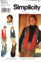 """Simplicity 9741 Misses' Reversible, Hip Length Vests Sewing Pattern 12-16 B34-38"""" Used"""